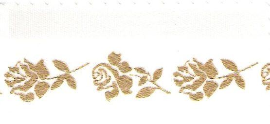 Satin-Kranzband, weiß mit Rosen-Rand - satinband