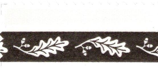 Satin-Kranzband, weiß mit Eichenlaub-Rand - satinband