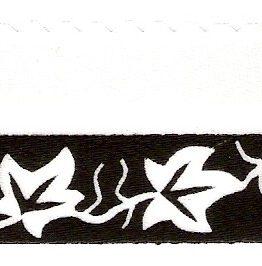 Satin-Kranzband, weiß mit Efeuranke-Rand - satinband