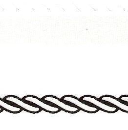 Satin-Kranzband, weiß mit Kordel-Rand - satinband