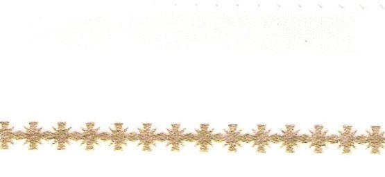 Satin-Kranzband, weiß mit Kreuz-Rand - satinband
