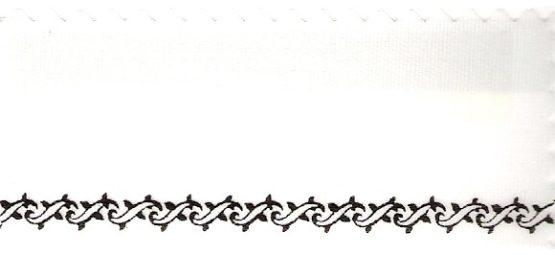 Satin-Kranzband, weiß mit Z-Ranke-Rand - satinband