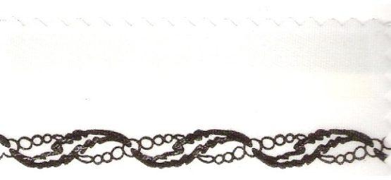 Satin-Kranzband, weiß mit Perlenkette-Rand - satinband