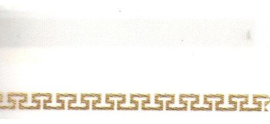 Satin-Kranzband, weiß mit Meander-Rand - satinband