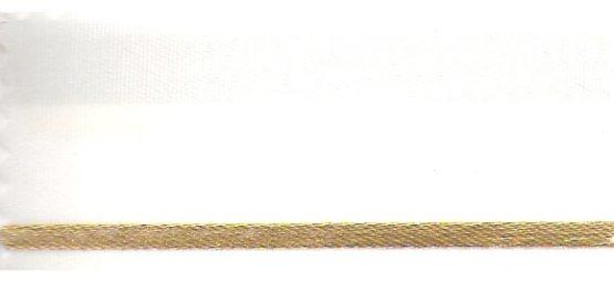 Satin-Kranzband, weiß mit Strich-Rand - satinband