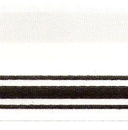 Satin-Kranzband, weiß mit Doppel-Strich-Rand - satinband