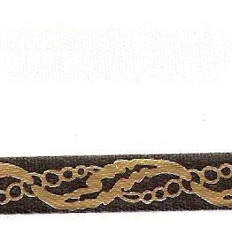 Satin-Kranzband, weiß mit Perlenketten-Rand schwarz/gold - satinband