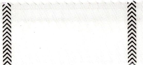 Satin-Kranzband, weiß mit Fischgrat-Rand schwarz - satinband