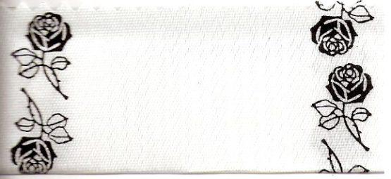 Satin-Kranzband, weiß mit Rosen-Rand schwarz - satinband