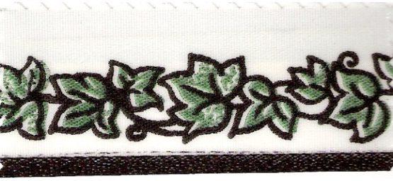 Satin-Kranzband mit grüner Efeu-Ranke - satinband